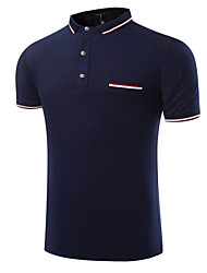 Men's Short Sleeve Polo,Cotton Casual / Formal Color Block