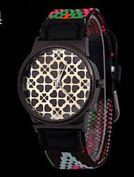 L.WEST Ladies' Nylon Woven Hollow Out Clover Quartz Watch Cool Watches Unique Watches