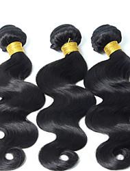 3Bundles color natural de la onda del cuerpo del pelo brasileño 8-26inch cabello humano virginal teje