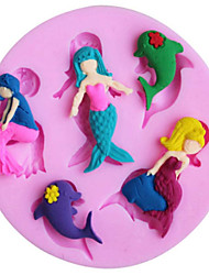Beautiful mermaid and dolphin shape silicone cake mold