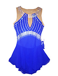 Robe de Patinage Femme Sans manche Patinage Robes Robe de patinage artistique Bleu Tenue de Patinage Classique Sportif