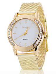 Women's White Case Gold Stainless Steel Band Wrist Fashion Dress Watch Jewelry Cool Watches Unique Watches