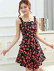 Women's Cute Print A Line Dress,Square Neck Mini Polyester