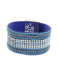 Fashion Women Multi Rows Stone Set Enamel Magnet Leather Bracelet