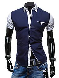 Men's Short Sleeve Shirt,Cotton Work Plaids