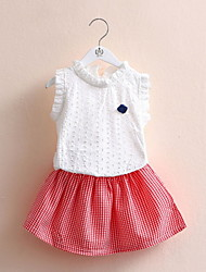 BK  Lipstick Short-sleeved Tee T-shirt+Check Skirt Two-piece Kids Girl's Clothing Set