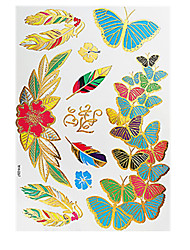 6PCS Waterproof Body Art Women Gold Colorful Jewel Sexy Flower Temporary Tattoo Stickers Chic Butterfly Braclet