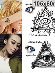 Fashion Waterproof Tattoo Sticker Halloween Terror Triangle Eyes Large Patterns 3d Temporary Tattoo Stickers