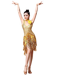 Latin Dance Dresses Women's Performance  Sequined Flower(s) / Sequins / Tassel(s) 2 Pieces Gold / Red / Sky blue