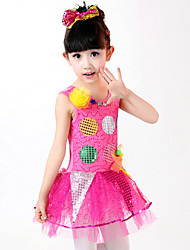 Girl's Polyester Summer Multicolor Dot Lace Dance Dress
