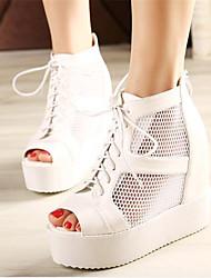 Women's Shoes Leatherette Wedge Heel Wedges / Heels / Peep Toe Heels Outdoor / Casual Black / White