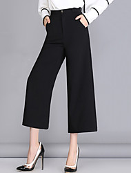 Women's Solid Black Business / Wide Leg Pants,Work / Casual / Day Nine Pants Loose Thin Polyester/Spandex