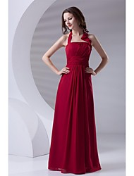 Formal Evening Dress Sheath / Column Halter Floor-length Chiffon with Side Draping