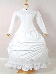 Une Pièce/Robes Gothique / Doux / Lolita Classique/Traditionnelle / Punk Steampunk® Cosplay Vêtements de Lolita Blanc Couleur Pleine