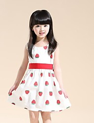 Girls Red Strawberry Belt Cotton Party Pageant Holiday Baby Kids Clothing Dresses