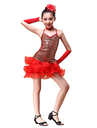 Latin Dance Outfits Children's Performance  Sequined Flower(s) / Ruffles / Sequins 5 Pieces Red / Yellow / Sky blue