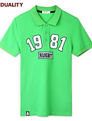 Trenduality® Hommes Col de Chemise Manche Courtes T-shirt Vert-43071
