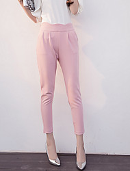 Women's Solid Pink / Black / Gray Skinny Pants,Casual / Day / Simple