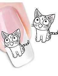 5pcs / set transferência de água adesivos de unhas produtos de beleza 3d manicure projeto do gato bonito para unhas carimbar decalques de
