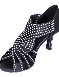 Non Customizable Women's Dance Shoes Latin Satin Cuban Heel Black/Blue/Yellow