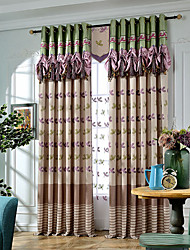 Hot embroidery curtain living room bedroom window Continental Aromatic flowers curtain no valance