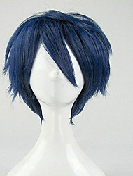 Top Quality Blue Cosplay Wig Synthetic Hair Wigs Man's Short Curly Animated Wigs Party Wigs