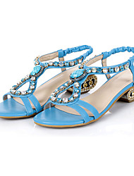 Women's Shoes Leather Low Heel Open Toe Sandals Dress / Casual Blue / Gold