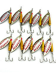 Hengjia 10pcs Deluxe Quality Spoon Metal Fishing Lures 70mm 9.9g Spinner Baits Random Colors