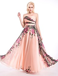 Formal Evening Dress A-line Sweetheart Floor-length Chiffon with Draping / Sash / Ribbon / Side Draping