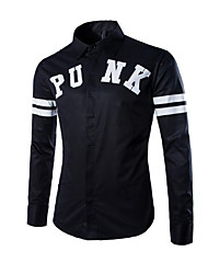 Men's Long Sleeve Shirt,Cotton Casual Print / Striped