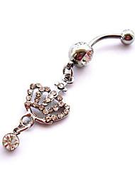 Femme Navel & Bell Button Rings Cristal / Zircon / Plaqué argent Argent Bijoux,1pc