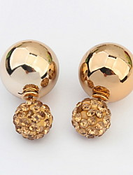 Hot Design Fashion Brand Jewelry Gold Silver Double Beads Rhinestone Round Ball Fashion Women Stud Earrings
