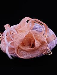Mulheres Renda Penas Liga Linho Capacete-Casamento Ocasião Especial Casual Ao ar Livre Fascinador 1 Peça