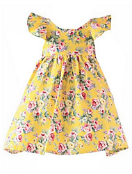 Girl's Yellow Dress Cotton Summer