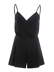 Women's Solid Black Jumpsuits,Beach Strap Sleeveless