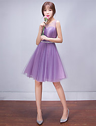 Knee-length Tulle Lace-up Bridesmaid Dress - A-line Scoop with Crystal Detailing Side Draping