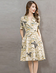 Women's Vintage / Street chic Print A Line / Skater Dress,V Neck Knee-length Cotton / Linen