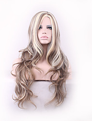Women 24inch Long Cosplay Body Wave Synthetic Hair Wig Medium Bang Multi-color with Free Hair Net