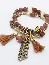 Women's European Style Retro Fashion Butterfly Beaded Tassels Charm Bracelets