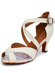Women's Dance Shoes Salsa Sparkling Glitter Flared Heel Black / White / Gold