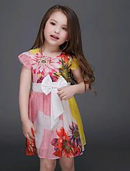 Menina de Vestido,Casual Floral Algodão Verão Vermelho