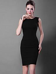 Baoyan® Women's Round Neck Sleeveless Above Knee Dress-13186