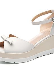 Zapatos de mujer-Tacón Cuña-Cuñas-Sandalias-Oficina y Trabajo / Vestido / Fiesta y Noche-Semicuero-Rosa / Blanco