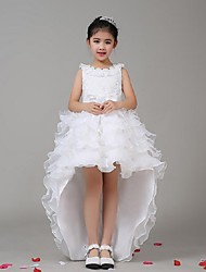 A-line Asymmetrical Flower Girl Dress - Chiffon / Stretch Satin Sleeveless Jewel with