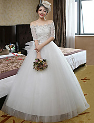 Ball Gown Wedding Dress-Ruby / White Floor-length Off-the-shoulder Lace / Satin / Tulle
