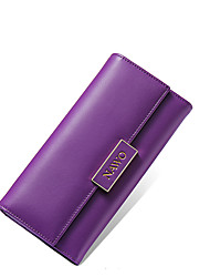 NAWO Women Cowhide Checkbook Wallet Purple-N353191