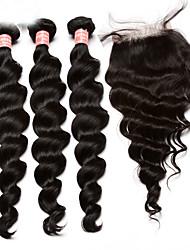 Trama do cabelo com Encerramento Cabelo Mongol Ondulação Larga 12 meses 4 Peças tece cabelo