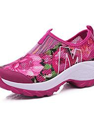 Non Customizable Women's Dance Shoes Cotton Cotton Dance Sneakers Flats / Sneakers Cuban Heel Outdoor Blue / Pink / Purple