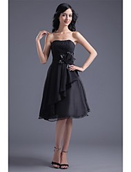 Cocktail Party Dress - Little Black Dress A-line Strapless Knee-length Chiffon with Flower(s) Side Draping