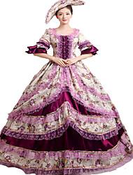 Une Pièce/Robes Gothique Steampunk® Rococo Cosplay Vêtrements Lolita Violet Rétro Cloche Manches Longues Long Chapeau Pour Dentelle Satin